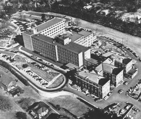 aerial view of Mission Hospital in 1954
