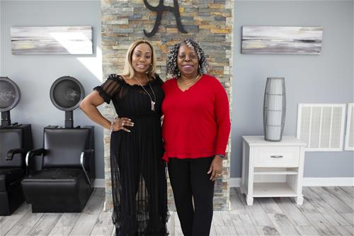 Dedra Hines, owner of Amaka's International, and her mother