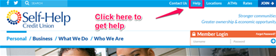How to Get Help on the Website - click the Help link at the top right