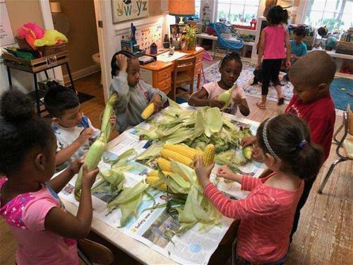A Safe Place childcare - kids shucking corn