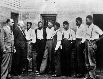Defendants in the Scottsboro case meet with ACLU representatives (1933).