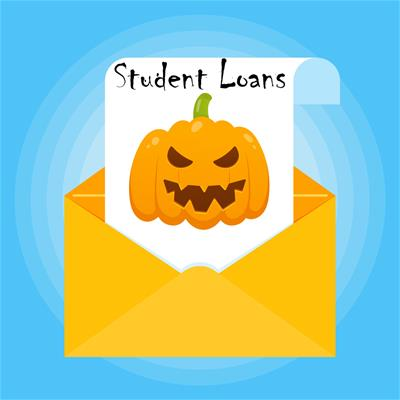 "Image of menacing jack o' lantern in an envelope, labeled ""Student Loans"""
