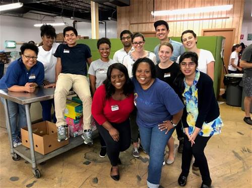 Summer interns in Durham, NC at a service project with a local food bank.