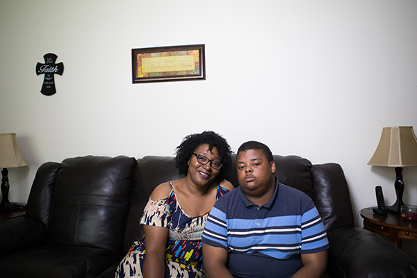 Eva Hines, a homeowner in Laurinburg, and her son